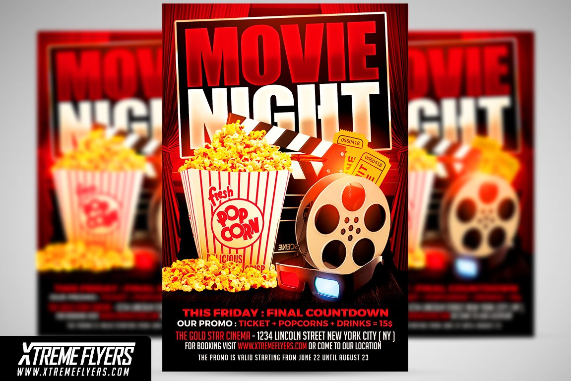 Movie night flyer template maxwellsz