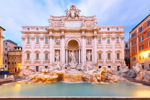 Trevi Fountain or Fontana di Trevi in Rome, Italy