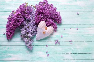 Fresh lilac and  decorative heart