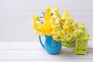 Yellow daffodils and lanterns