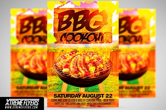 bbq cookout flyer template flyer templates creative market