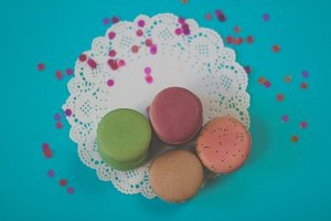Colorful Macarons Flat