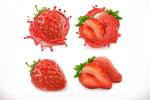 Strawberry juice. 3d vector