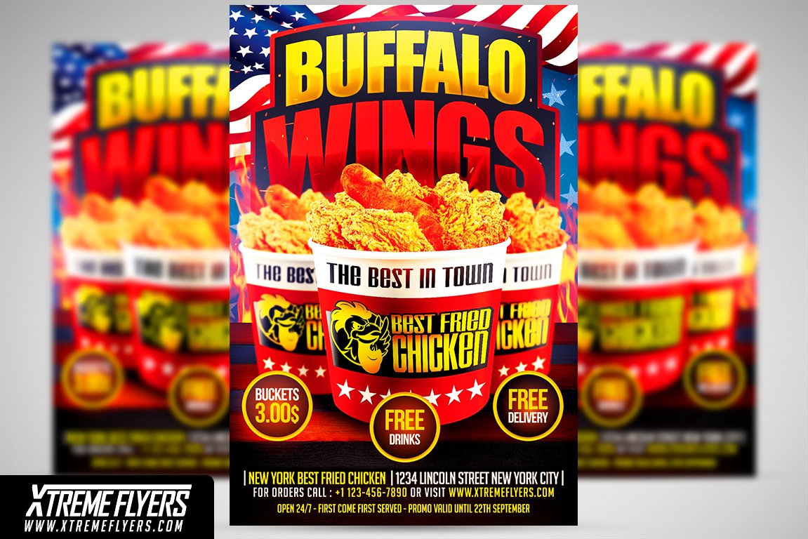 wings fast food flyer template flyer templates creative market