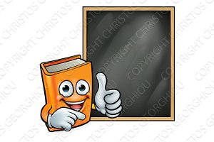 Cartoon Book Giving Thumbs Up and Blackboard