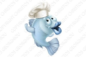 Cartoon fish wearing a chef hat