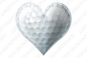 Love golf ball heart