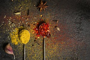 Spices food background. selection variety dry Whole and ground s