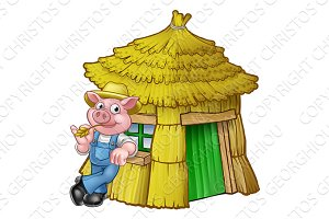 Three Little Pigs Fairy Tale Straw House