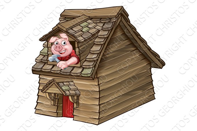 Three Little Pigs Fairy Tale Wood House ~ Illustrations ...