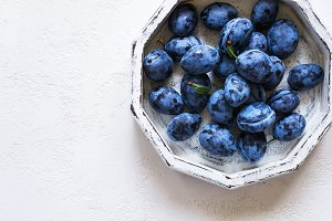 Dark blue plum in white tray on a white background