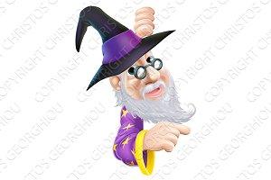Wizard peeping round sign