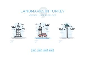 9 Landmarks in Turkey Illustrations