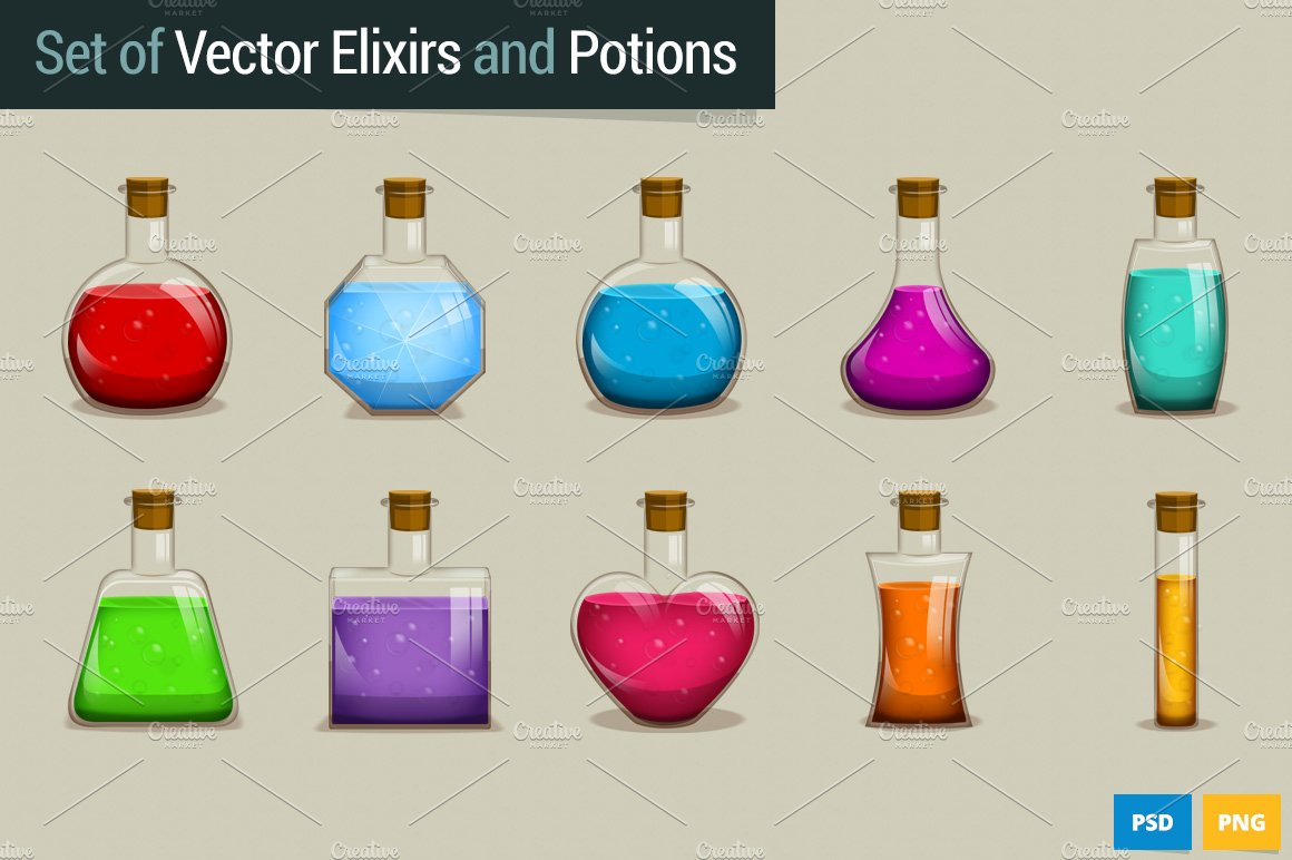 Set Of Vector Potions And Elixirs Illustrations