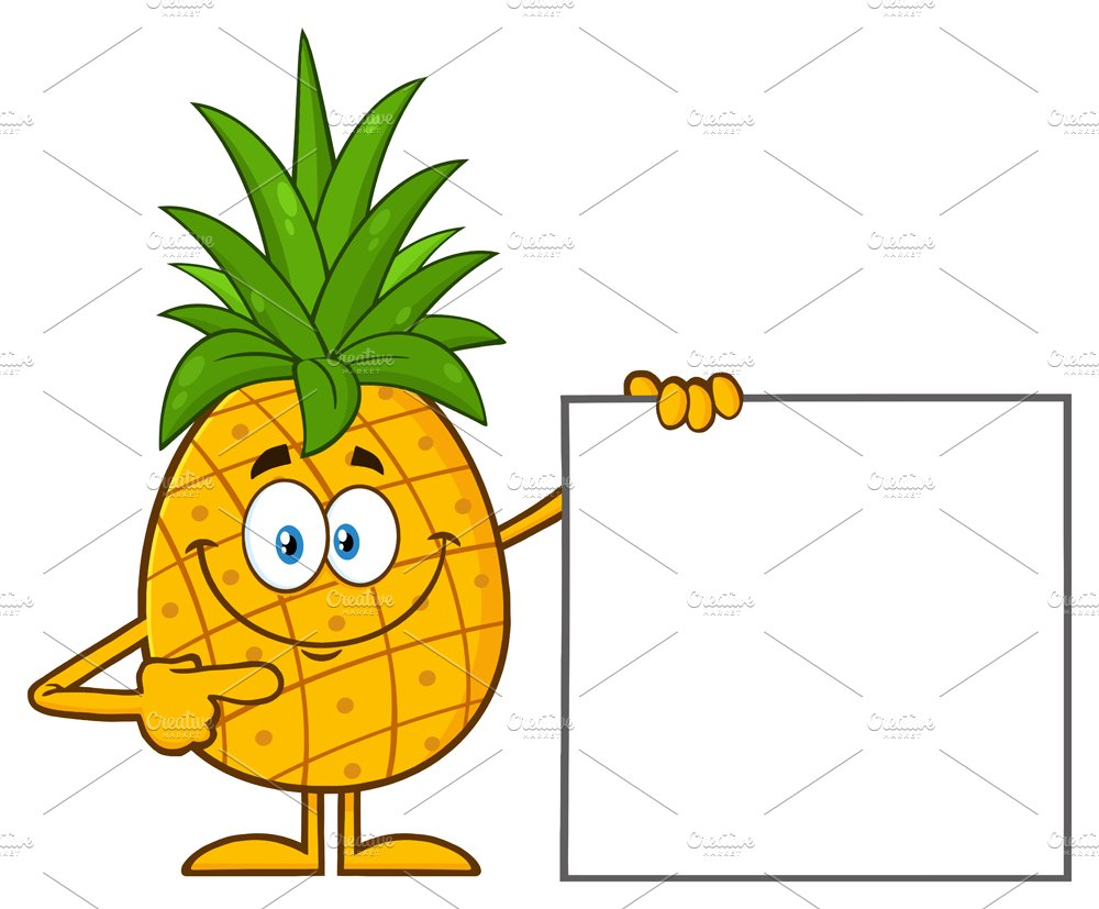 Pineapple Pointing To A Blank Sign ~ Illustrations ...