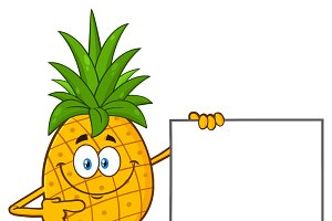 Pineapple Pointing To A Blank Sign