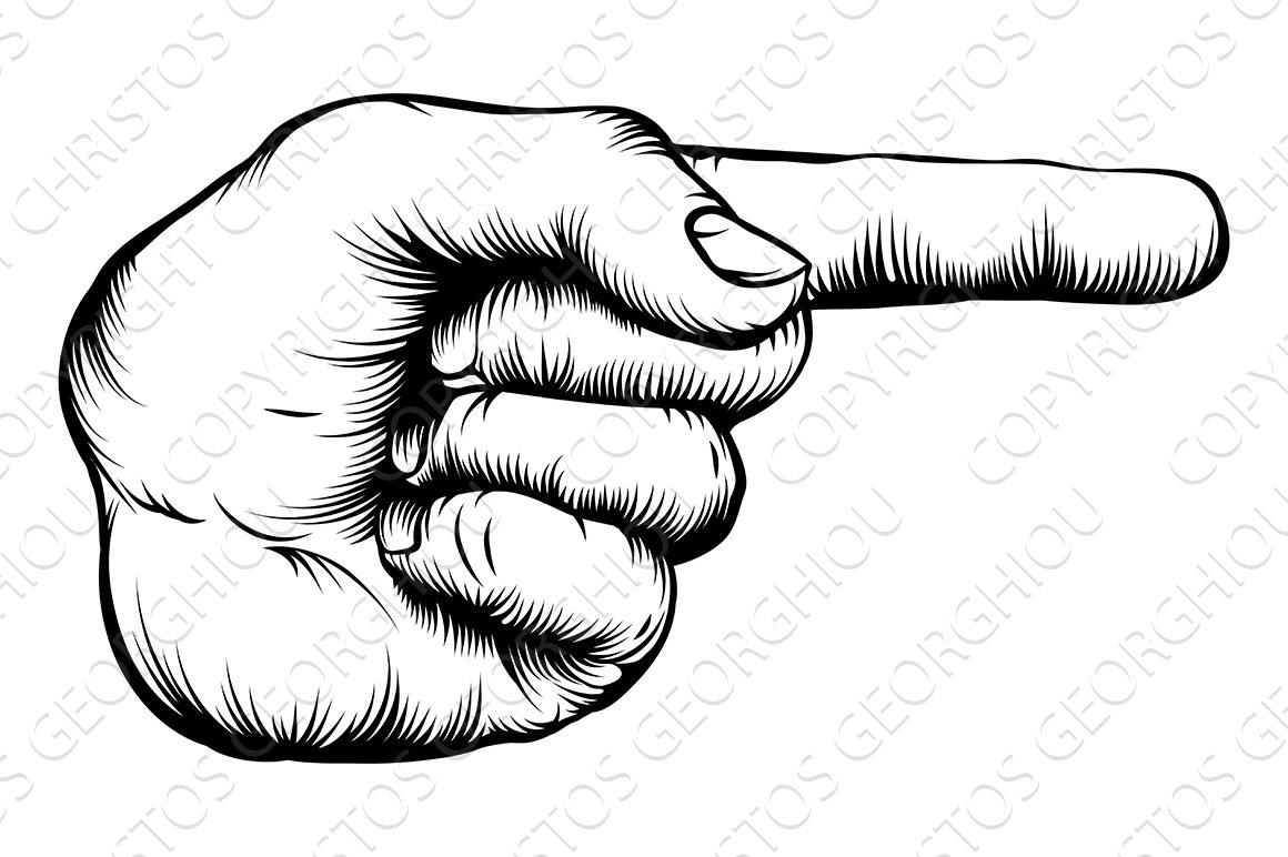 Hand pointing finger illustration ~ Illustrations ...