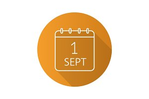 September 1st date flat linear long shadow icon