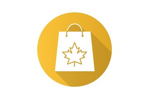 Autumn shopping flat design long shadow glyph icon