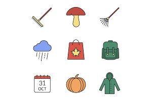 Autumn season color icons set
