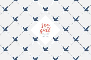 Two seamless patterns of seagulls