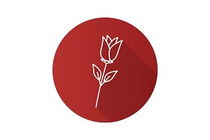 Rose flower flat linear long shadow icon