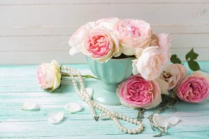 Pink roses and pearls