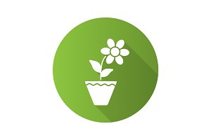 Crocus in flowerpot flat design long shadow glyph icon