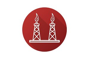 Gas towers flat linear long shadow icon