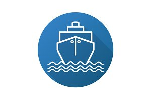 Cruise ship flat linear long shadow icon