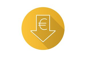 Euro rate falling flat linear long shadow icon