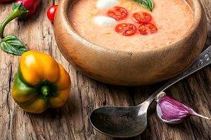 Gazpacho soup with basil