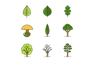Trees color icons set