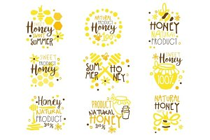 Natural Honey Products 100 Percent Organic Set Of Colorful Promo Sign Design Templates With Bees And Honeycombs
