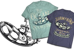 Submarine T-shirts And Poster Labels