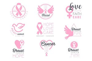 Breast Cancer Fund Set Of Colorful Promo Sign Design Templates In Pink Color With International Cancer Sickness Symbols And Motivating Slogans
