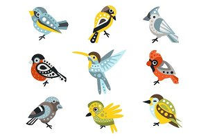 Small Bird Species, Sparrows And Hummingbirds Set Of Decorative Artistic Design Wild Animals Vector Illustrations