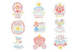Little Princess Set Of Prints For Infant Girls Room Or Clothing Design Templates In Pink And Blue Color