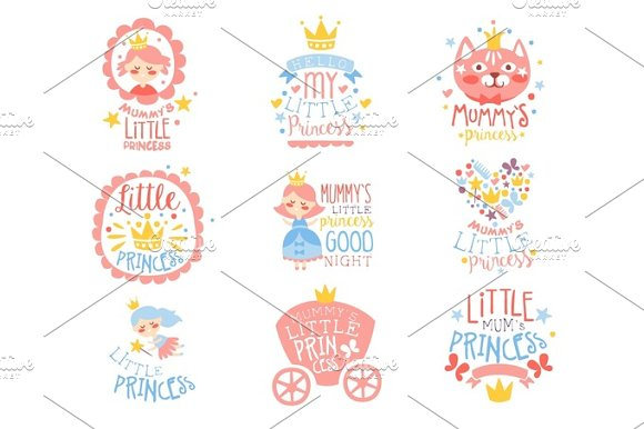 Little princess set of prints for infant girls room or clothing little princess set of prints for infant girls room or clothing design templates in pink and maxwellsz
