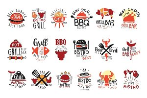 Best Grill Bar Promo Signs Set Of Colorful Vector Design Templates With Food Silhouettes