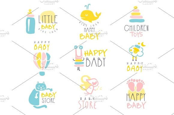 Kids Shop Promo Signs Series Of Colorful Vector Design Templates With Outlined Childish Toy Silhouettes