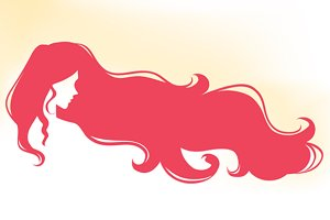 Logo with woman with long hair