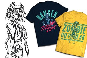 Zombie T-shirts And Poster Labels