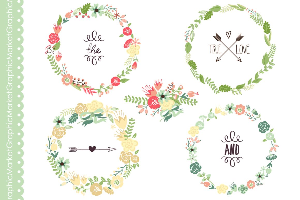 Floral Wreaths Clip Art And Flowers Illustrations