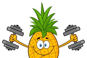 Pineapple Fruit With Dumbbells