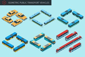 Isometric public transport vehicles