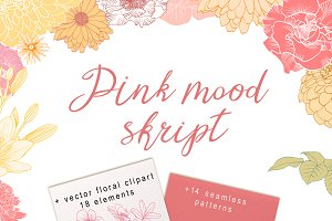 Pink mood set. Font & patterns.