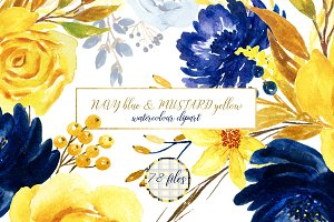 Navy blue & mustard yellow flowers