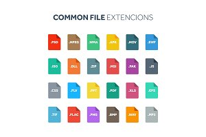 Flat style icon set. System,common file type, extencion. Document format. Pictogram. Web and multimedia. Computer technology.