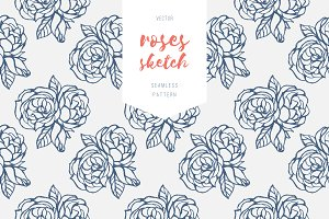 Vintage roses, two seamless patterns